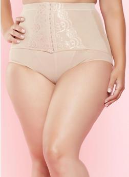 Plus Size Mesh High Waisted Shapewear Panty - NUDE - 7166035160541