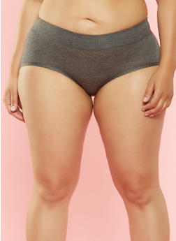 Plus Size Hipster Panties - CHARCOAL - 7166035160575