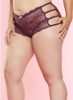 Plus Size Lace Caged Side Boyshort Panties - 7166035160699