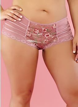 Plus Size Floral Lace Boyshort Panties - 7166035160712