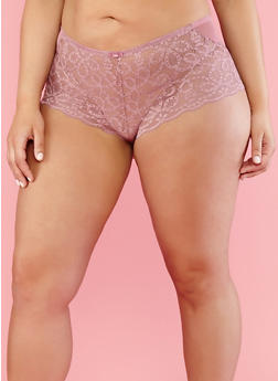 Plus Size Mesh Lace Cheeky Boyshort Panties - 7166035160716