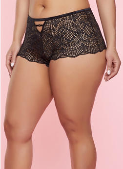 Plus Size Caged Lace Boyshort Panty | 7166035160750 - 7166035160750