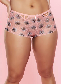 Plus Size Cut Out Lace Boyshort Panty - 7166035160753