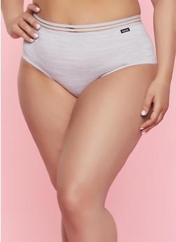 Plus Size Shadow Stripe Waistband Bikini Panty - 7166035160982