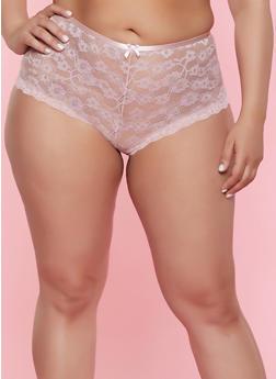 Plus Size Floral Lace Cheeky Boyshort Panty - 7166035161762