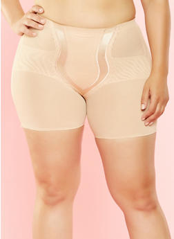 Plus Size Sheer Shapewear Shorts - 7166035162031