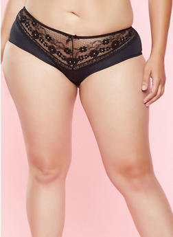 Plus Size Lace Panel Hipster Panty - 7166035163003