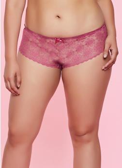 Plus Size Lace Hipster Boyshort Panty - 7166059290378