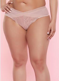 Plus Size Mesh Detail Lace Cheeky Panty - ROSE - 7166059299326