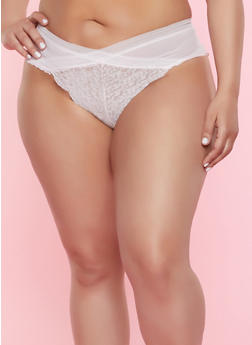 Plus Size Mesh Detail Lace Cheeky Panty - PINK - 7166059299326