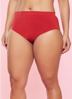 Plus Size Seamless Bikini Panty - RED - 7166064870059