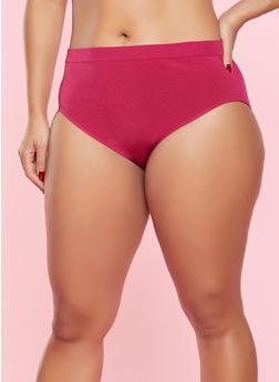 Plus Size Seamless Bikini Panty - MAGENTA - 7166064870059
