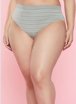 Plus Size Striped Bikini Panty | 7166064870061 - OLIVE - 7166064870061