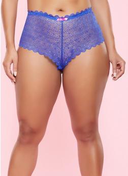 Plus Size Cheeky Lace Boyshort Panty - 7166064870357