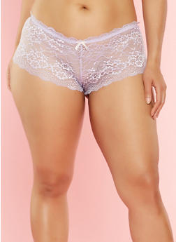 Plus Size Lace Cheeky Boyshort Panties - 7166064870533