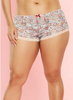 Plus Size Floral Lace Boyshort Panties - 7166064870598