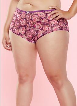 Plus Size Printed Lace Boyshort Panty - 7166064871520