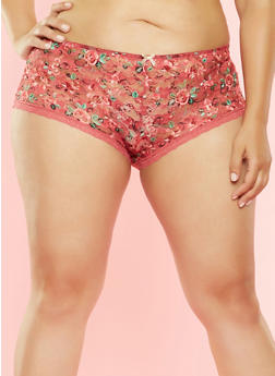 Plus Size Printed Lace Boyshort Panty - 7166064871521