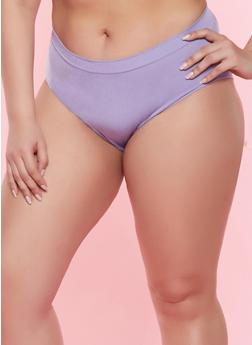 Plus Size Solid Seamless Bikini Panty - PURPLE - 7166064871920