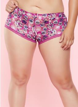 Plus Size Printed Lace Boyshort Panty - 7166064873021