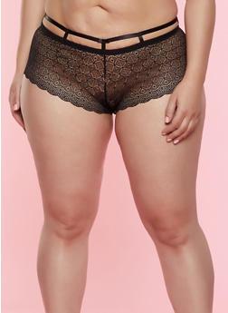 Plus Size Caged Waist Lace Boyshort Panty - 7166064873205