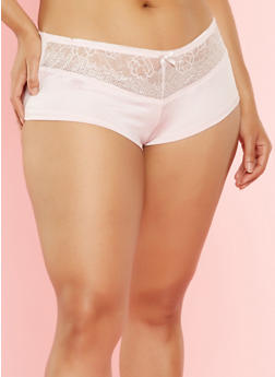 Plus Size Lace Trim Boyshort Panties - 7166064873446