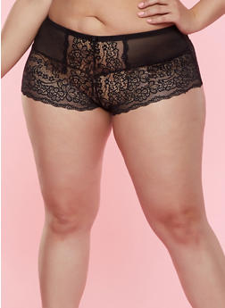 Plus Size Mesh Insert Lace Boyshort Panty | 7166064873448 - 7166064873448