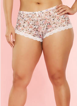 Plus Size Printed Lace Boyshort Panties - 7166064873642
