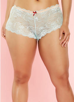 Plus Size Scallop Lace Cheeky Boyshort Panties - 7166064873674