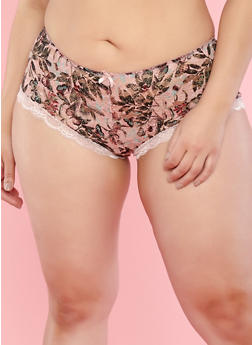 Plus Size Printed Lace Boyshort Panties - 7166064873782