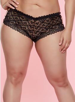 Plus Size Caged Side Lace Boyshort Panty - 7166064875587
