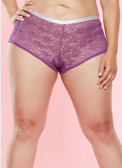 Plus Size Caged Lace Boyshort Panty - 7166064876391
