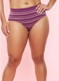 Plus Size Striped Seamless Bikini Panty - MAUVE - 7166064877000