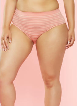 Plus Size Striped High Waisted Bikini Panties - CORAL - 7166064877764