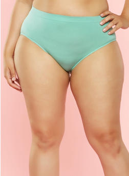 Plus Size Seamless Bikini Panty - MINT - 7166064877765