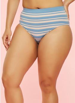Plus Size Striped Bikini Panties - 7166064878632