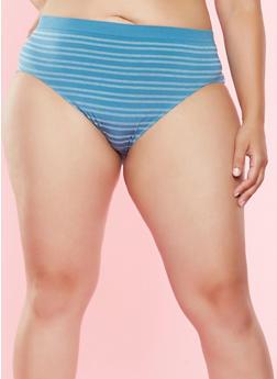Plus Size Striped Bikini Panties - 7166064878633