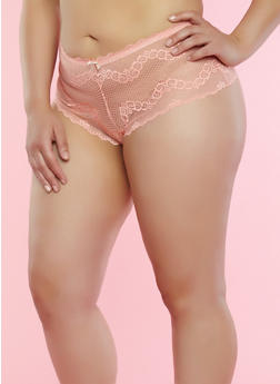 Plus Size Peach Lace Boyshort Panties - 7166064878730