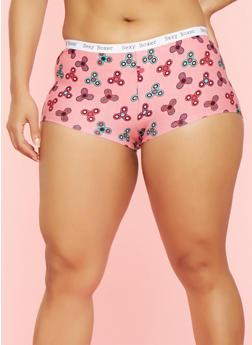 Plus Size Spinner Print Boyshort Panties - PEACH - 7166064878807