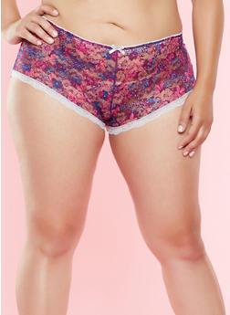 Plus Size Printed Lace Boyshort Panty - 7166064879181