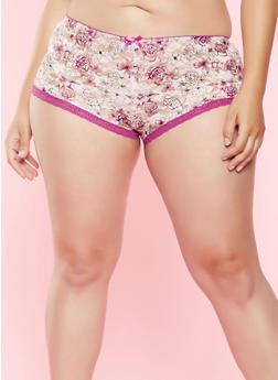 Plus Size Printed Lace Boyshort Panty - 7166064879219