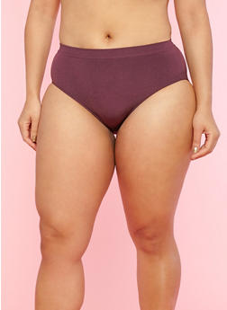 Plus Size Solid Bikini Panties - 7166064879977