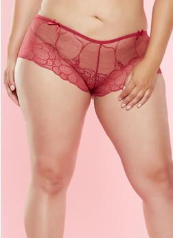 Plus Size Lace Boyshort Panty - 7166068060009