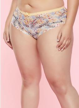 Plus Size Floral Lace Cheeky Panty - 7166068060031