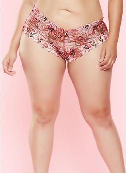 Plus Size Printed Boyshort Panty - 7166068060041