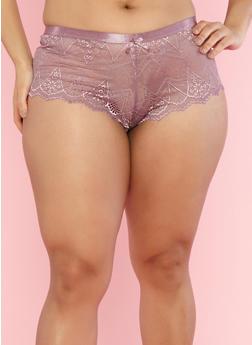Plus Size Lilac Lace Boyshort Panties - 7166068060728