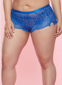 Plus Size Bow Detail Lace Boyshort Panty - 7166068060881