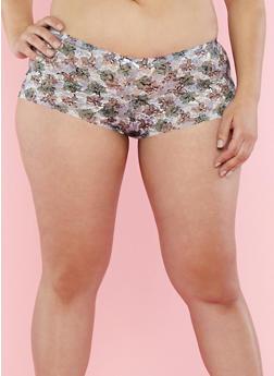 Plus Size Floral Lace Boyshort Panties - 7166068061781