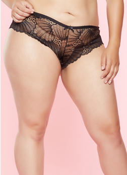 Plus Size Cut Out Lace Hipster Panty - 7166068062534