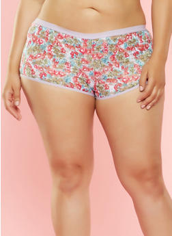 Plus Size Floral Lace Boyshort Panties - 7166068062783